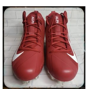 NWOT Mens Nike Red an White Alpha Cleats SZ 14.5